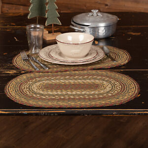 """VHC Brands Tea Cabin Rustic Jute Placemat Set of 6 Green Red White Stripe 12x18"""""""