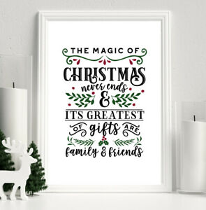 Family Christmas Picture Print Red Green Magic Xmas Decor Wall Art A4 Gift