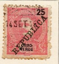 Cape Verde 1911 Early Issue Fine Used 25r. Republica Optd 080311