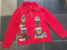 Ugly Christmas Sweater XL Womens Red Teddy Bear Presents Men L