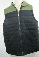 NEW Men's Fleece Vest Jacket Large Hood 15 Apparel Black Green