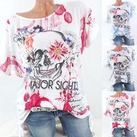 Summer Womens Skull Printed Short Sleeve Blouse Shirt Casual Loose T Shirt Tops