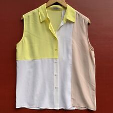 Equipment Femme Silk Top Small Yellow Pink White Sleeveless Button Down Shirt