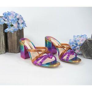 Sophia Webster Freya Rainbow Leather Mid Mules Heels Size 36 NIB