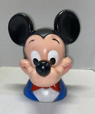 New listing Vintage 1971 Walt Disney Mickey Mouse Head Bust Plastic Coin Piggy Bank Play Pal