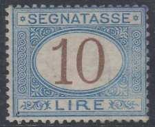 ITALY 1874 POSTAGE DUE Sc J19 KEY VALUE REGUMMED & CANCEL REMOVED (CV$9,500)
