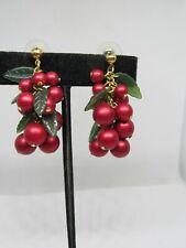 Vintage Red Beaded Chandelier Clusters Goldtone PIERCED Earrings, Avon