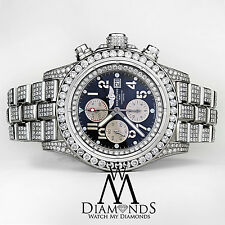 Men's Diamond Breitling Super Avenger Watch blue Index Dial Model A13370