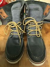 JOSEF SEIBEL BLUE LEATHER ABOVE ANKLE BOOTS, LACE UPS. , SZ 5/38, HARDLY WORN.