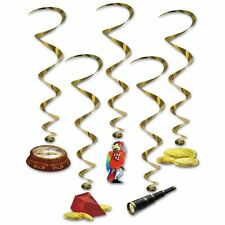 Treasure Hunt Whirls Parrot Gems Gold Pirate Birthday Party Decorations 5 Pc