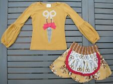 Persnickety Size 2 Scissors Applique Top & Irene Apron Skirt 2T Vintage Mustard