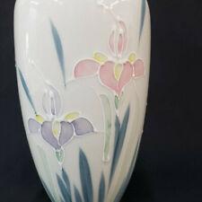 Vase Iris Lotus Flowers Otagiri Japan Floral Hand Painted Flowers Tall