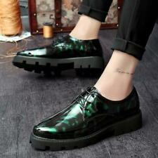 Spliced Patent Leather Mens Pointy Toe Flats Lace up Business Formal Dress Shoes