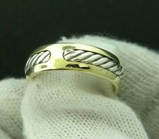 David Yurman 18K Yellow Gold and Sterling Silver Cable Band Ring 7mm Comfort Fit