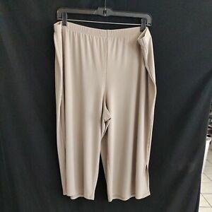Susan Graver Taupe Crop Culottes Pants Size 2X liquid knit z21