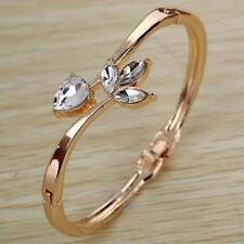 Alloy Women Ladies Bracelet Bangle Gold Flower Rhinestone Cuff Bracelet Jewelrys