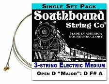 "Cigar Box Guitar String Set: 3-string Electric Medium ""Open D"" D F# A - 34-11-01"
