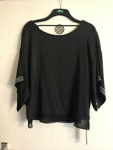 Ladies - Women's - Top Blouse Size Uk 16 - Eur 44 - BLack - Black - Nwt - Roman