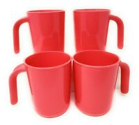 TUPPERWARE NEW COFFEE MUGS Set Of 4 IN BEAUTIFUL PINK  FREE SHIPPING