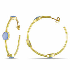 Amour Yellow Gold Plated Silver Blue Onyx Hoop Earrings