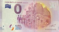 BILLET 0  EURO CASA BATLLO GAUDI ESPAGNE  2017  NUMERO 5000 DERNIER BILLET