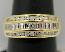 Row Channel Set Wedding Band ~ Vs F-G 18K Gold ~ 1.25 Ct Diamond Emerald/Round 3