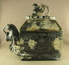 2160g LARGER CHINESE OLD JADE PHOENIX ORNAMENTATION Zun CONTAINER, PHOENIX LID