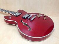 Haze ES-335 Style Semi-Hollow Electric Guitar SEG-272 Cherry Red +Free Gig Bag