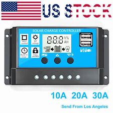 10/20/30A Dual USB Solar Panel Battery Regulator Charge Controller 12V 24V