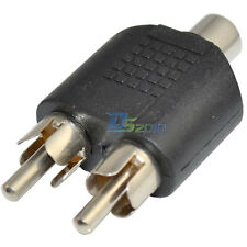 New RCA Adaptor Splitter 2 Male to 1 Female Audio AV Plug  Stereo Jack Adapte