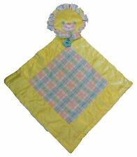 Vtg 1996 Playskool Snuzzles Bear Yellow Satin Check Fleece Baby Blanket Pillow