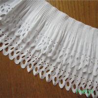 1 yards 2-layer Elastic Pleated Organza Lace Trim Gathered Chiffon Ribbon White
