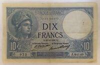 Billet De Banque 10 Francs Minerve Ou Bleu Du 20-10-1927 Voir Photos