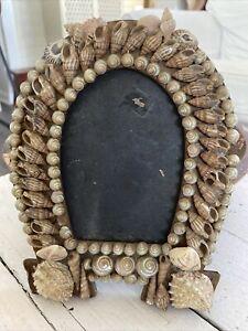 ANTIQUE ca. 1900 Sailor's Sea Shell Picture Frame Horseshoe Folk Art As Found