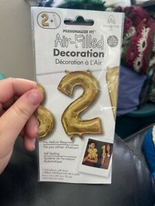 "Anagram Number ""2"" Gold Minishape 16"" Foil Balloon New!"