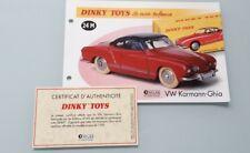 Dinky toys atlas sheet paper certificate ref 24m vw karmann-ghia