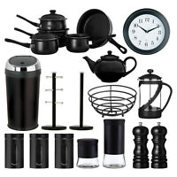 Black Kitchen Accessories Storage Canisters Bin Clock Fruit Basket Mug Tree New