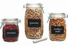 Chalk It Up hermetic glass storage food spice jar 3PC chalk labels not pyrex