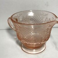 Vintage Federal Pink Normandie Bouquet & Lattice Footed Creamer Depression glass