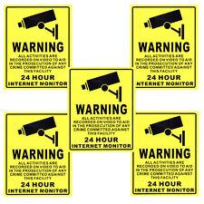 5 X CCTV Surveillance Security Camera Warning Sign Sticker Decal 20cm X 25cm