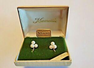 Vintage Krementz Cultured Pearl Screw Back Earrings NIB 14K Gold Overlay