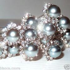 Forcine argento polvere verde acqua SPOSA Capelli strass perla forcina D0368