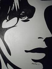 Negro Blanco Pintura al Óleo Abstracta Cara Grande Lona Arte Pop Contemporánea Moderna