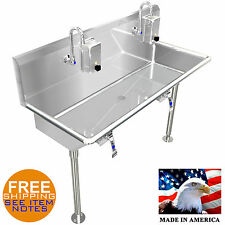 "HAND SINK 42"" 2 USERS INDUSTRIAL HANDS FREE STAINLESS STEEL BASIN MADE IN USA"