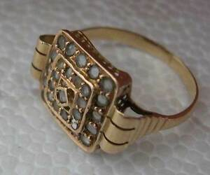 GORGEOUS ANTIQUE 19TH CENTURY 9K GOLD RING SET WITH ROSE DIAMONDS