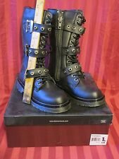 New Demonia Disorder-303 Punk Combat Gothic Low Calf Boots with Buckle Sz 6 M