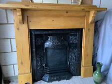 Large Wooden Pitch Pine Fireplace With Arts And Crafts Cast Iron Insert