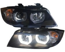BLACK finish HALOGEN HEADLIGHTS with 3D angel eyes FOR BMW E90 E91 05-08