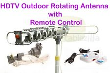 HDTV VHF UHF FM Outdoor Antenna 150 Miles Motorized IR Remote Control 28db Gain