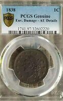 PCGS 1838 1c AU Details Large Cent Coronet Head Borderline Uncirculated